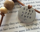 Personalized bookmark-hand stamped metal bookmark-best life ever-jw gifts-cord bookmark