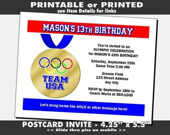 Olympic Medal Party Invitation, Printable with Printed Option, Birthday Party, Olympic Medal Invites, Sports Theme