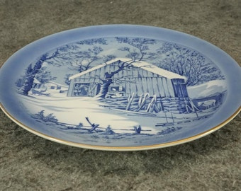 Currier & Ives The Old Homestead In Winter Collector's Plate C. 1960s
