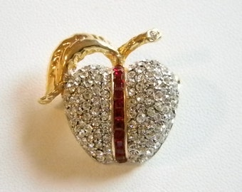 Small Gold Tone Red Baguette Clear Rhinestone Apple Pin Brooch - Marked NHL
