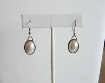 Silver Tone Finish White Pearl Dangle Pierced Earrings