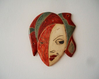 Eccentric ceramic mask wall art. Ceramic wall art. Day and night. Wall sculpture. Morning is wiser than night. Wall hanging, wall decor.