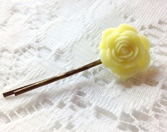 Yellow Rose Bronze Bobby Pin; Resin Flower Cabochon Hair Pin