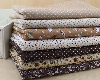 1 Lot of 100% Plain Cotton/Size: 50*50cm/DIY Handmade Fabric Supply/Coffee/Chocolate/Brown Group