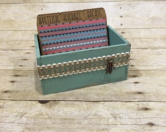 Tribal Recipe Box, Wooden Recipe Box