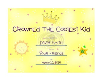 Coolest Kid Certificate Personalized