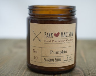 Pumpkin Soy Candle, Soy Candles Handmade, Seasonal Soy Candles, Scented Soy Candle, Fall Candles