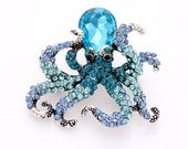 Teal Blue Octopus Brooch Rhinestone Blue Octopus Brooch Ombre Teal Aqua Blue Beach Wedding Seaworld Nautical Jewelry