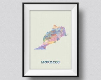 Morocco Map Watercolor Water Color Art Print Ink Splash Poster