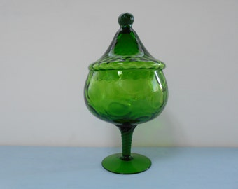 Retro Vintage Emerald Green Glass Bon Bon or Lolly Jar 1960's  #10089