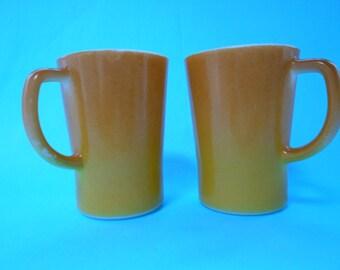 Pyrex Crown Milk Glass Gold & Caramel Coffee Mugs Set of Two