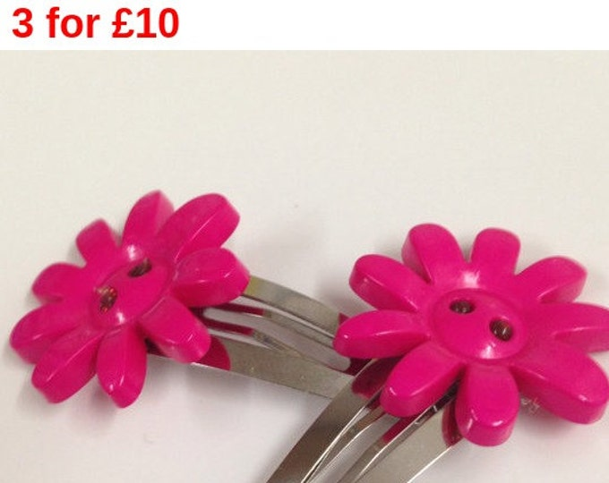 Pink flower button children's hair clip, flower hair clip, children's hair accessories, pink hair clip, button hair clip