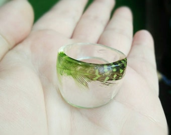 Green Feather Ring - Feather Resin Ring - Dome Ring - Feather Ring - Feather Jewelry - Resin Ring - Large Ring - Resin Ring Large - Size 12