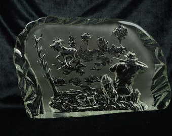 Art Glass Moose and Hunter in Woods Wildlife Series Etched Carved Glass Crystal | Sweden