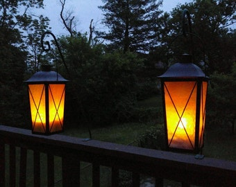Large Stained Glass Lantern Cream and White or Green and Caramel