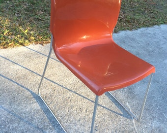 "8 - mid century fiberglass chairs the ""D"" sled base chair eames era"