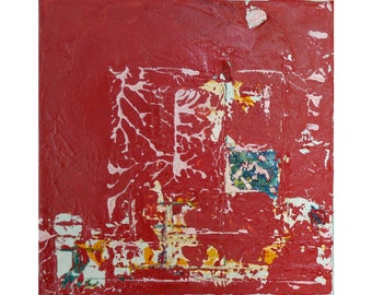 Original Abstract Oil Painting-Happy Tiles–Red-abstract art; modern art; gallery stretched canvas, no need for frame 8x8in ~20x20cm; texture