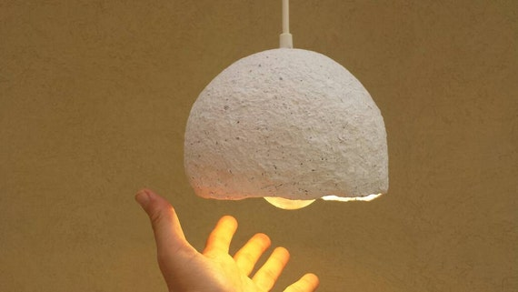 Paper mache hanging lamp papier mache lampshade paper lamp for How to make paper mache lamps