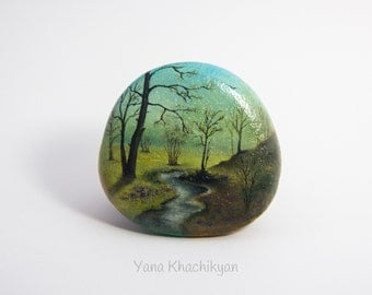 Autumn landscape (Original oil painting on a stone). Free shipping