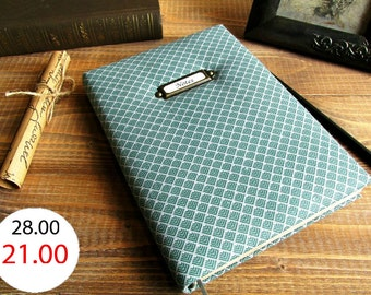 SALE 25% - Notebook handmade fabric cover, fabric cover notebook, notebook for men