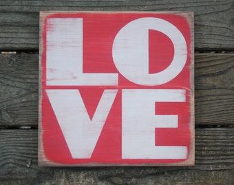 LOVE distressed painted wooden sign shabby chic rustic farmhouse wall decor