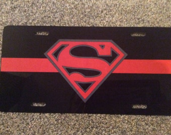 Custom Red-Line Superman License Plate Tag