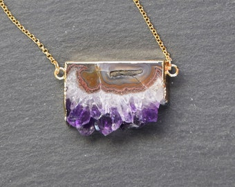 Raw Amethyst Slice Bar Druzy Geode Goldplated Pendant Necklace