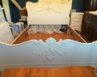Vintage Double Bed with Rails, Appliqued,Custom Chalk Painted, Distressed