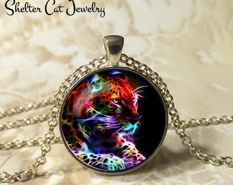 """Leopard Necklace - 1-1/4"""" Circle Pendant or Key Ring - Handmade Wearable Photo Art Jewelry - Nature Art - Leopard in Fractals - Gift"""