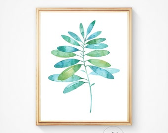 Watercolour leaf, print, print art, Leaf art, leaf print, printable wall art, Modern art, palm leaf print, Tropical leaf print, Wall art
