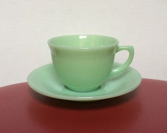 Vintage Fire King Jadeite Jane Ray Cup And Saucer - Anchor Hocking - Jadite - Ovenware - Ribbed Green Glass - Made In USA