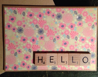 Note Card. Hello. Scrabble Tiles. Just Because. Handmade Note Card