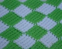 Crochet Baby Blanket, Photography Prop, Babyshower Idea, Travel Blanket, Entrelac Throw, green blanket, white blanket, Girl Boy Blanket