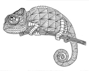 chameleon coloring | etsy - Chameleon Coloring Pages Printable