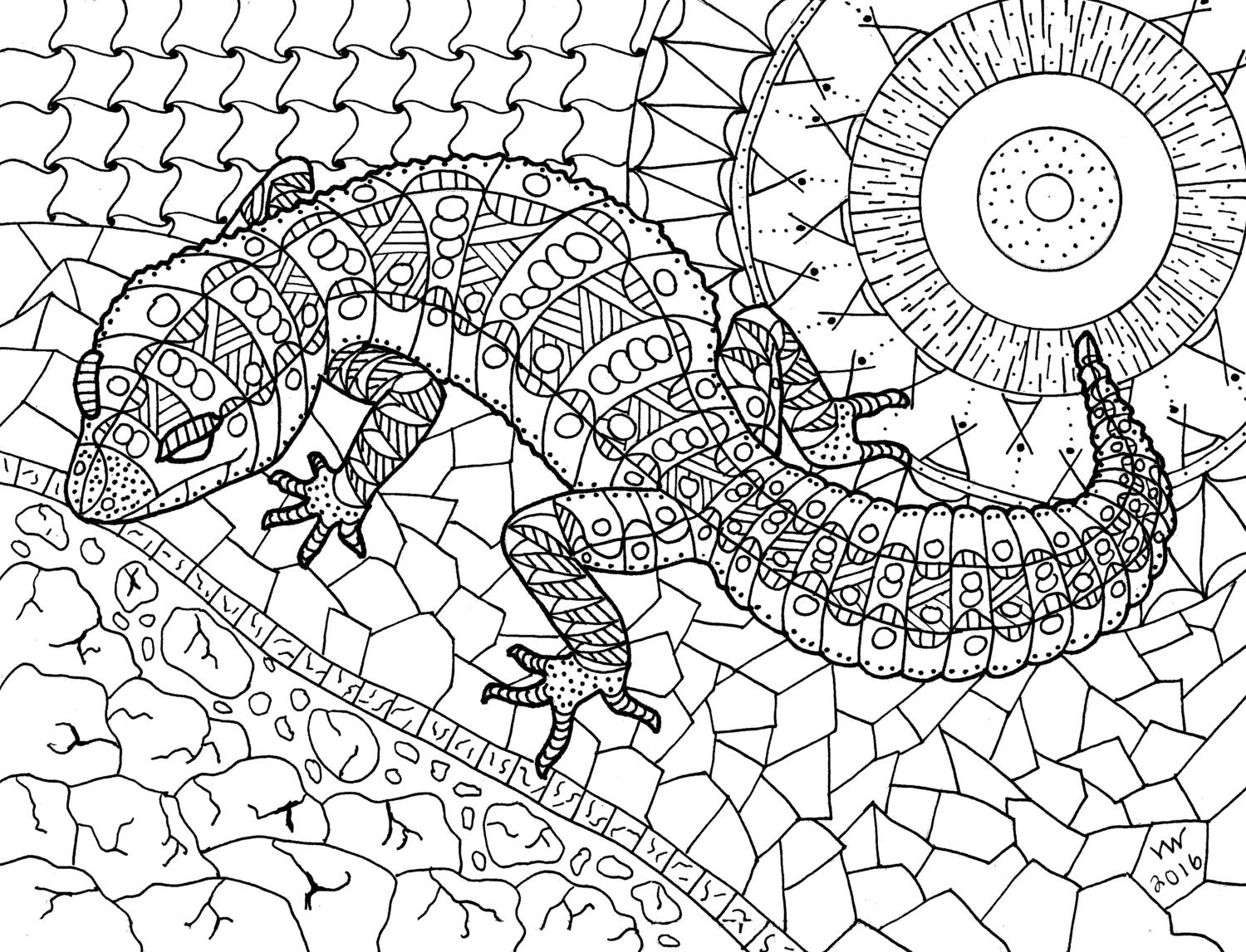 Coloring Page Zentangle Lizard Adult Coloring Page Digital