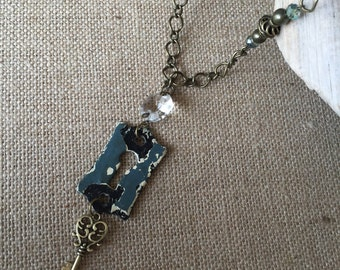 Antique Repurposed Keyhole Escutcheon Skeleton Key Charm Necklace with antique Chandelier Crystal