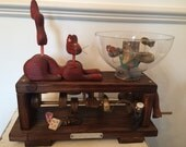 Automaton The Cat and The Fish Bowl Gifts for Cat Lovers Funny Gifts Moving Sculpture Kinetic Art Unique Gift Wood Carving Unusual Funny