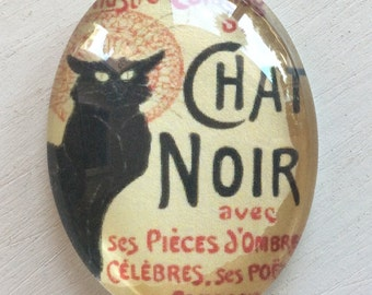 CABACHON  40x30mm French black cat