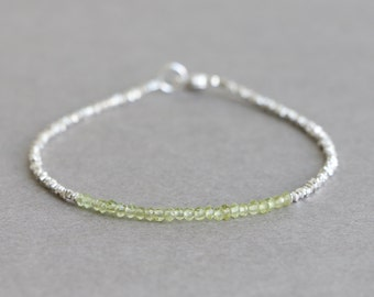Peridot Bracelet August Birthstone Stacking Bracelet  Beaded Bracelet