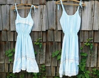 Blue summer dress 1970s vintage dress Lace dress