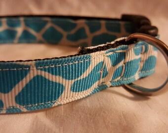 "10""-16"" Adjustable Dog Collar, blue cow dog collar, nylon dog collar, handmade dog collar"