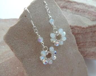 Sterling Silver Wire Wrapped Swarovski Crystal Flower Drop Earrings