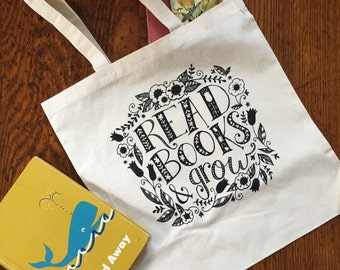 Read & Grow Library Bag - screenprinted canvas tote