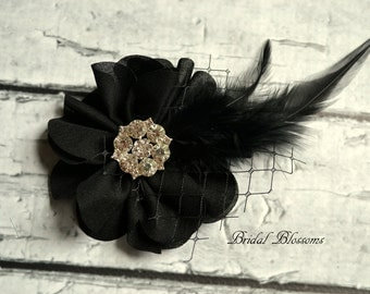 Black Chiffon Flower Hair Clip | Vintage Inspired Bridal Hair Piece | Wedding Fascinator | Clear Rhinestone Feather Veiling Hair Accessory