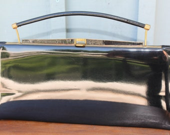Vintage Black Patent Handbag/Purse By Camel Made In Canada