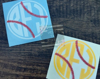 Baseball Decal | Softball Decal | Baseball Monogram | Softball Monogram | Personalized Baseball Decal | Personalized Softball Decal
