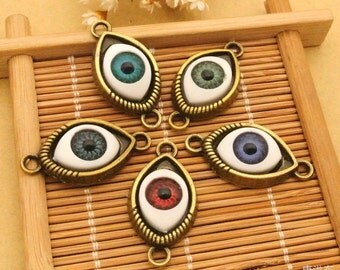 wholesale 100pcs  assorted Evil eyes 30x15mm charms findings connectors--5 colors