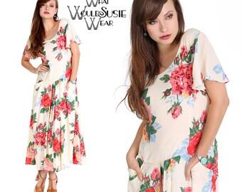 SUMMER SALE! Vintage Floral Dress/ 1940's Drop Waist Style/ Pockets S/M/L/XL 30% Off! Was 178