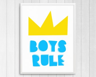 Printable Art Boys Rule Nursery Wall Art Kids Wall Art Childs Room Decor Girls Nursery Art Boys Room Wall Art Boys Gift