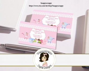 Business Cards, Premade Business Card, Printable Business Card, Digital Business Card Template - Kids, Babies